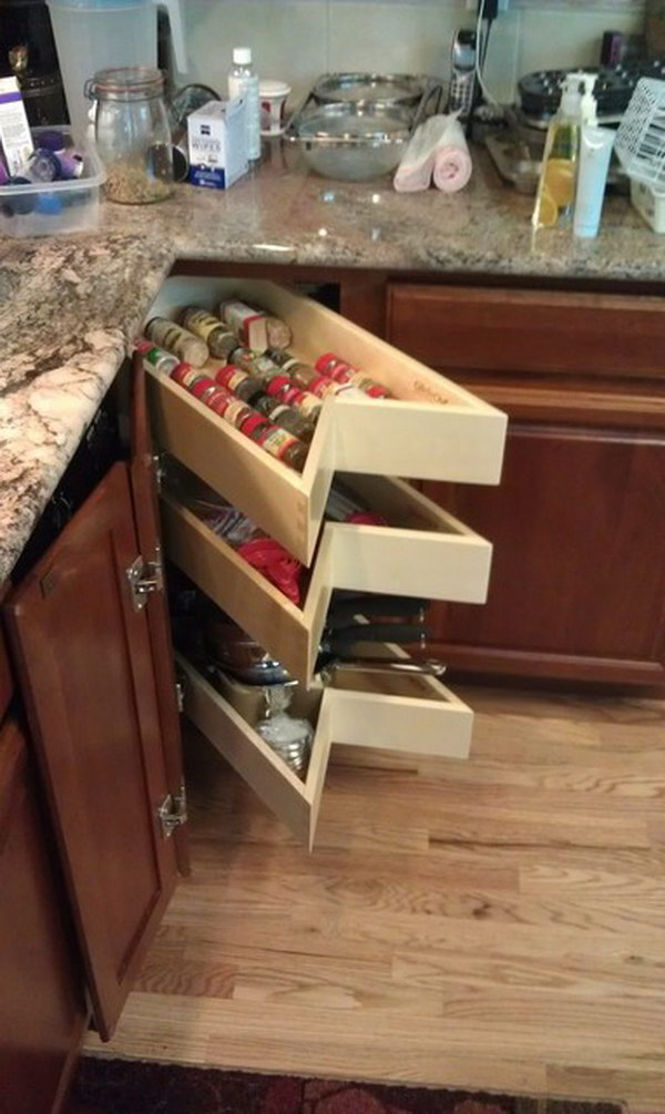 Beautiful Corner Drawers In Kitchen