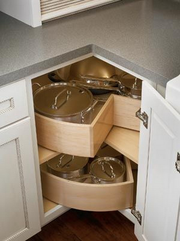 Corner Base Cabinet With Deep Bin Lazy Susan Shelves