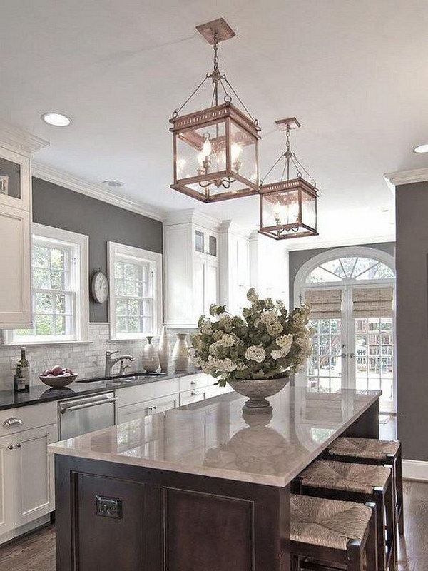 Modern White And Gray Kitchen With Lanterns Lantern Pendant Lights