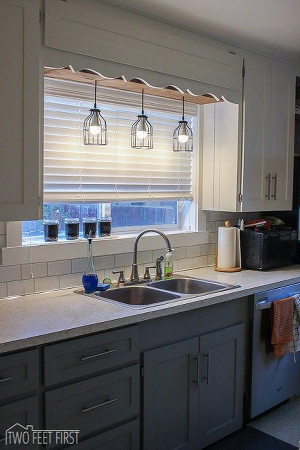 DIY Pendant Cage Light with a Wooden Box Above the Sink.
