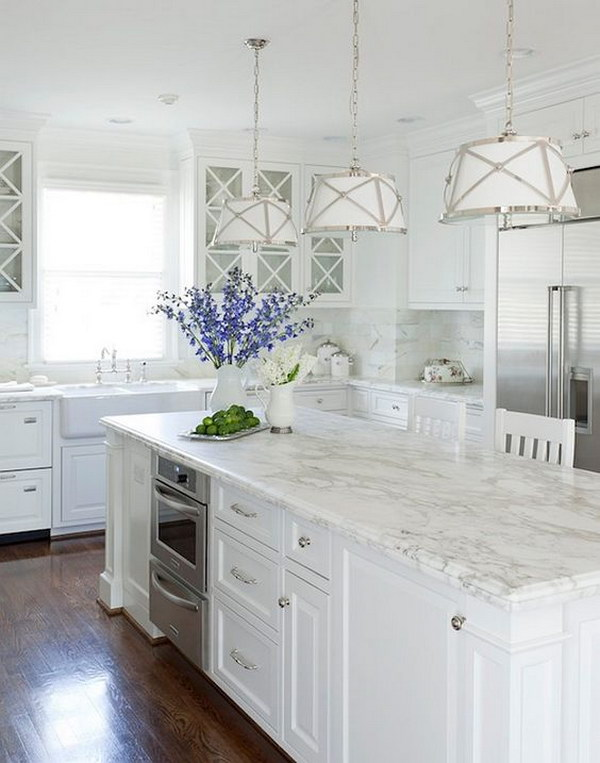 White Kitchen with Lamps.