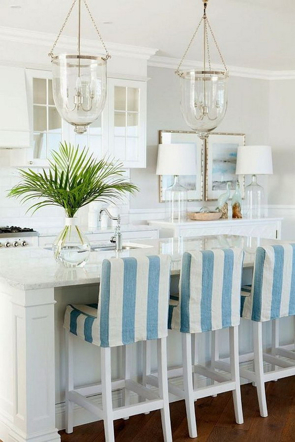 Coastal Kitchen with Bell Jar Lantern Pendants.