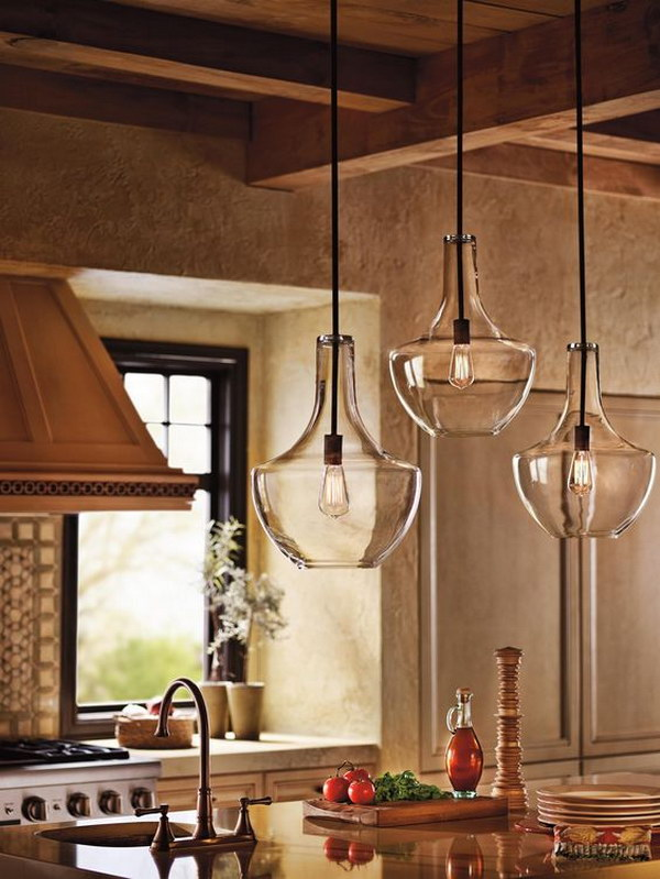 Stunning Rustic Kitchen Featuring Beautiful Clear Glass Pendant Lights