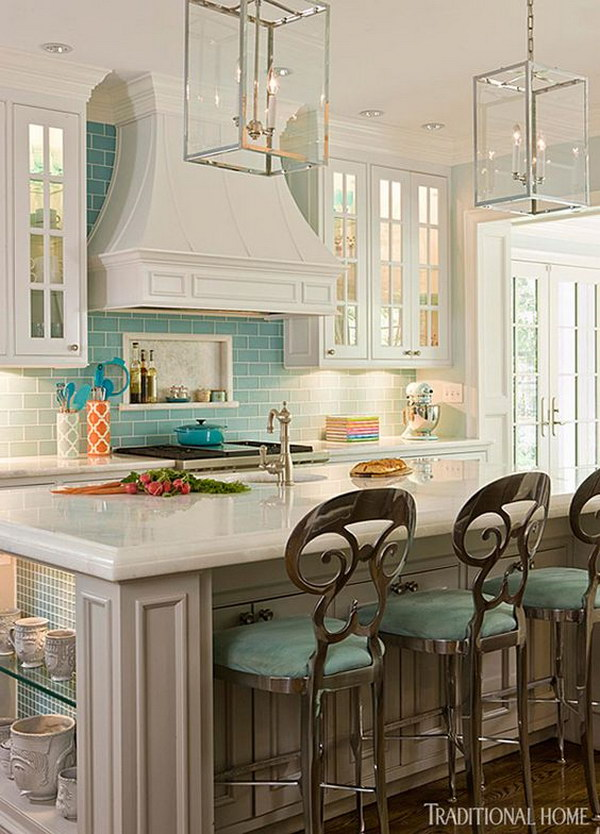 Modern Kitchen With A Pair Of Glass Lanterns