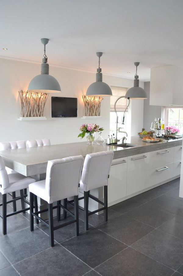 Contemporary Kitchen With Soft Grey Metal Shaded Pendant Light Fixtures