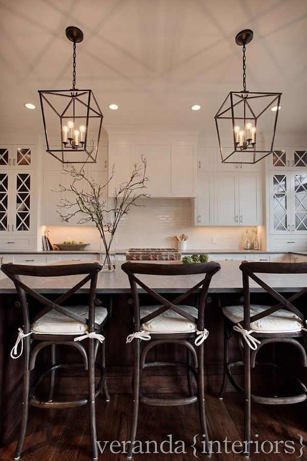 White Shaker Style Kitchen With Steel Pendant Lighting