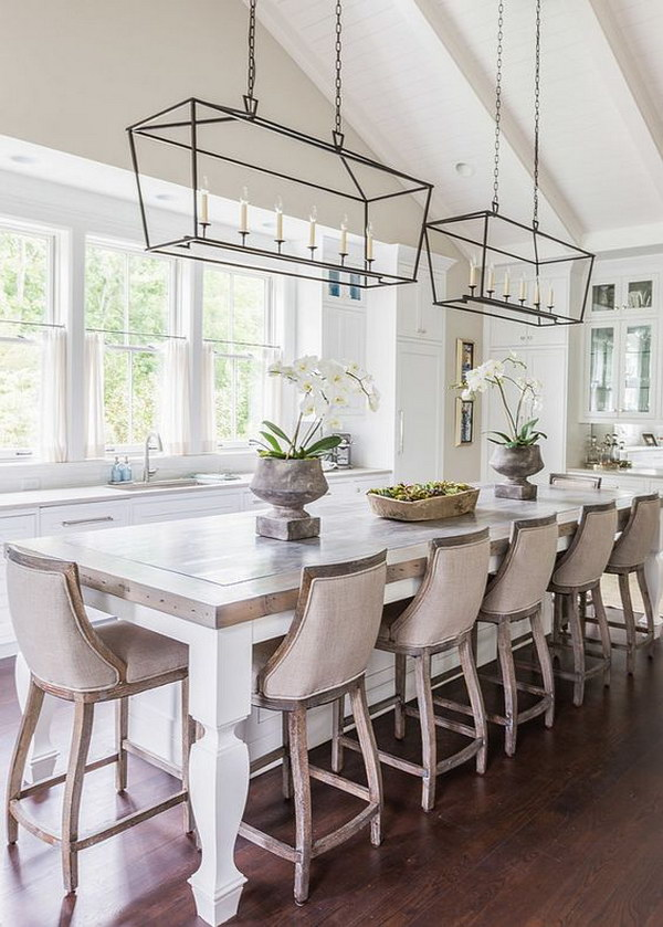 Vintage Kitchen Design with Glass Iron Pendant Lights.