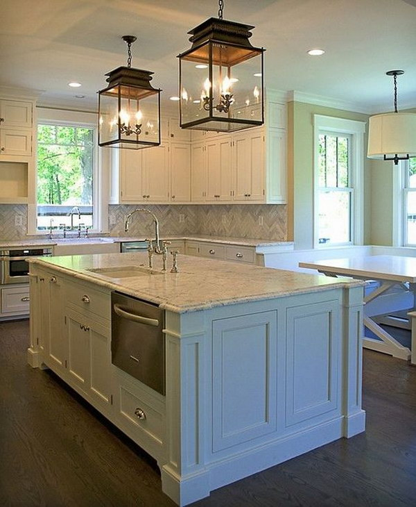 Traditional Kitchen with A Pair of Glass Pendant Lanterns.