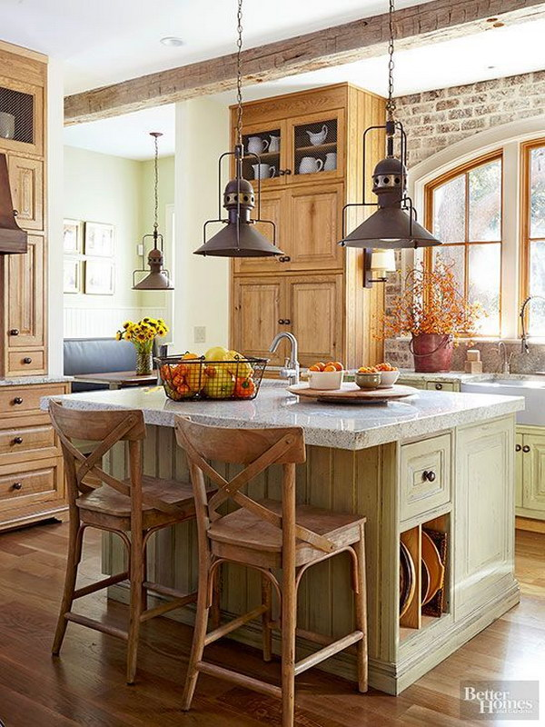 Rustic Kitchen with Industrial Steel Pendants.