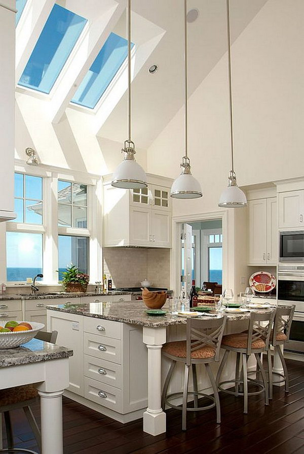 Large White Kitchen with Skylights.