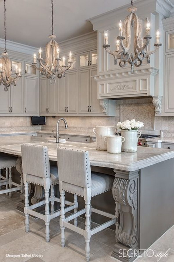 Gray Kitchen with Stylish Mini Chandeliers.