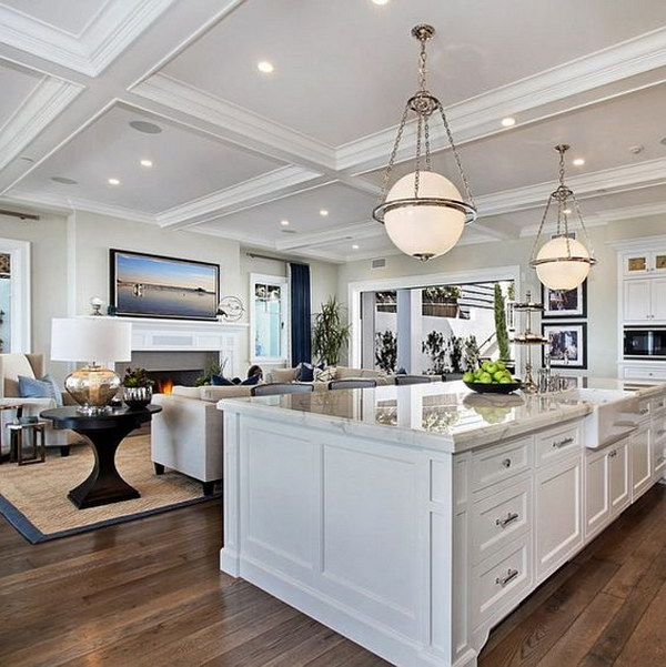 Ultimate California Beach Kitchen with Global Modern Lighting.