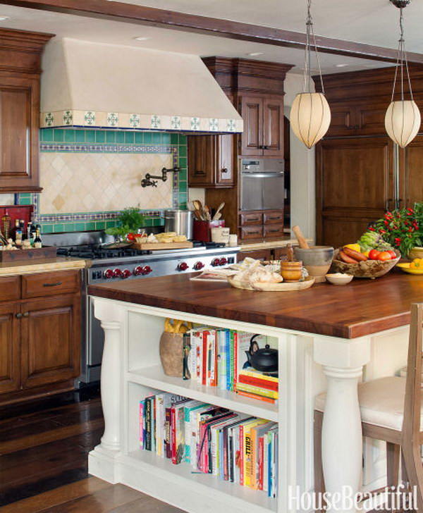 Rustic Kitchen With Soft Glow Glass Pendant Lights
