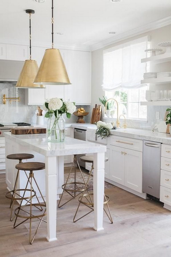White Kitchen with Two Goodman Hanging Lamps in Antique Brass.