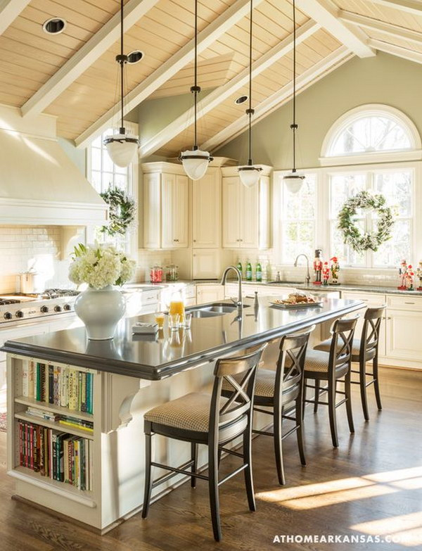 Modern White Kitchen With Global Penants