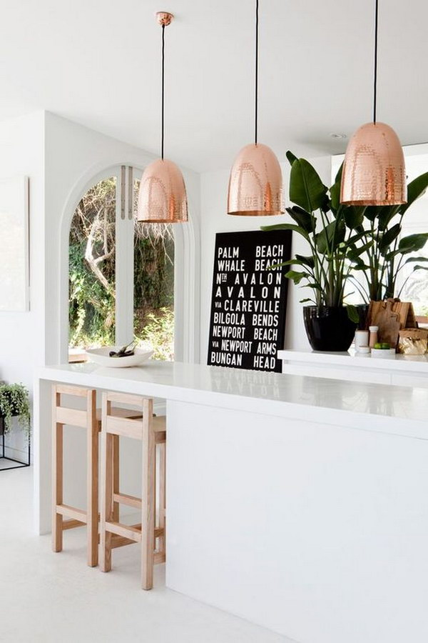 Copper Pendant Lights over the Kitchen Island.