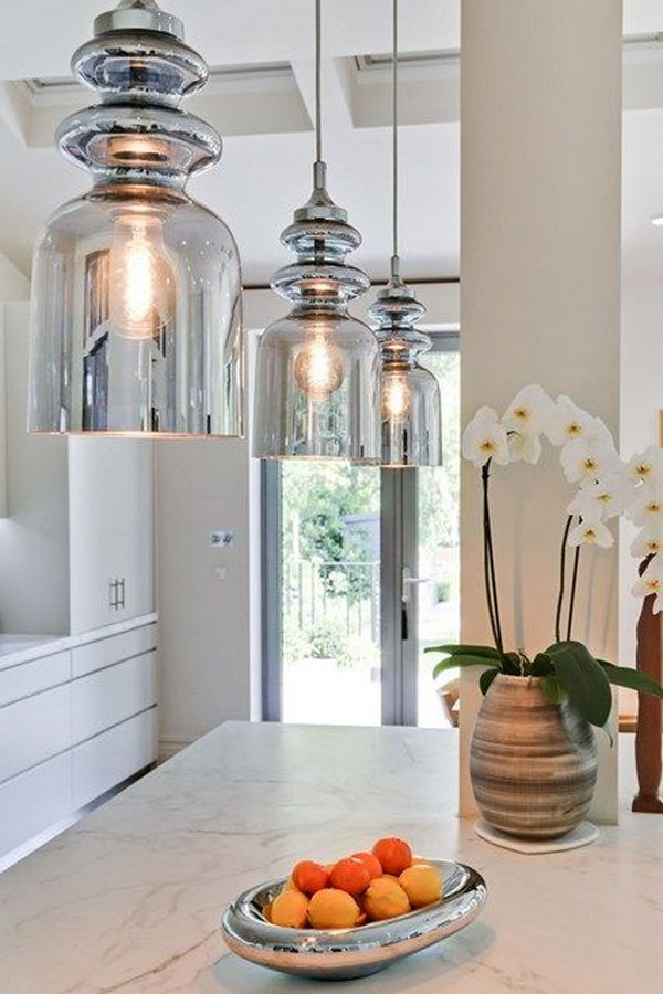 glass hanging lamps for kitchen decorating