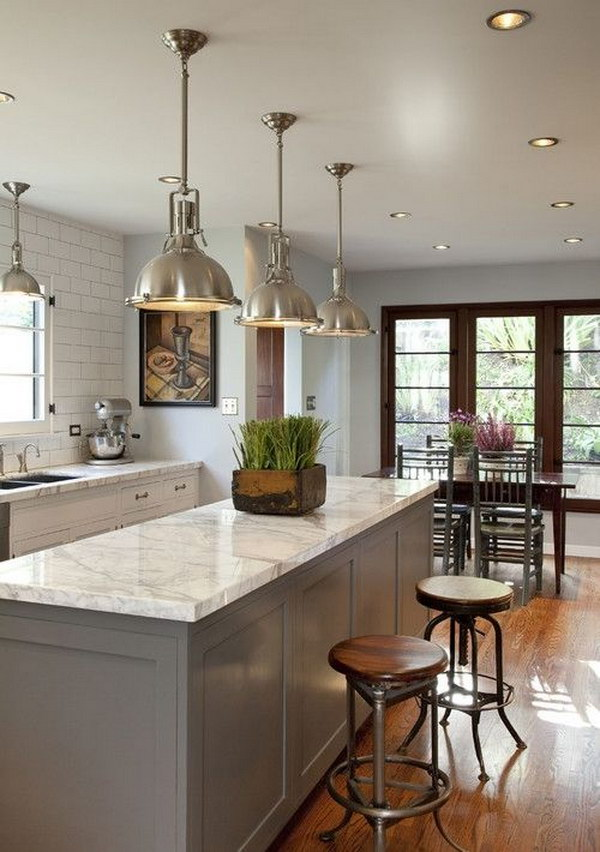 Traditional Kitchen with Industrial Chic Lights.