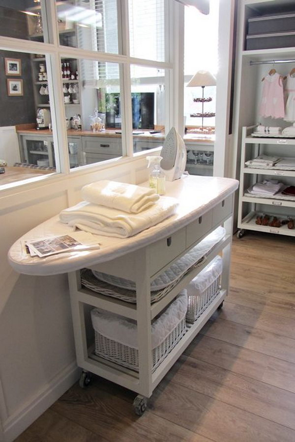 Laundry Table Ideas landry table with tilt out hampers by rnr laundryroom keepittidy custommade laundryroom Ikea Storage Unit With Attached Ironing Board Hack