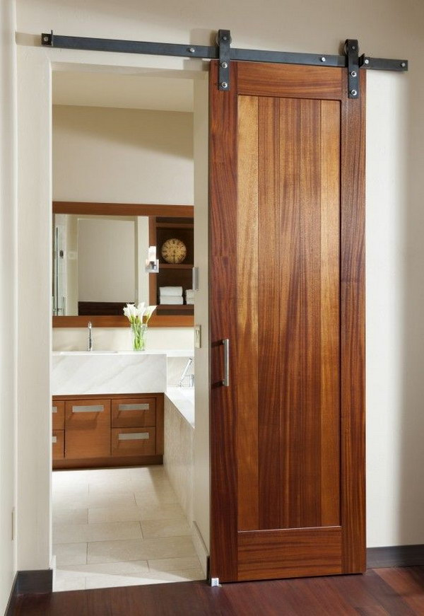 Love this Space Saving Sliding Barn Door