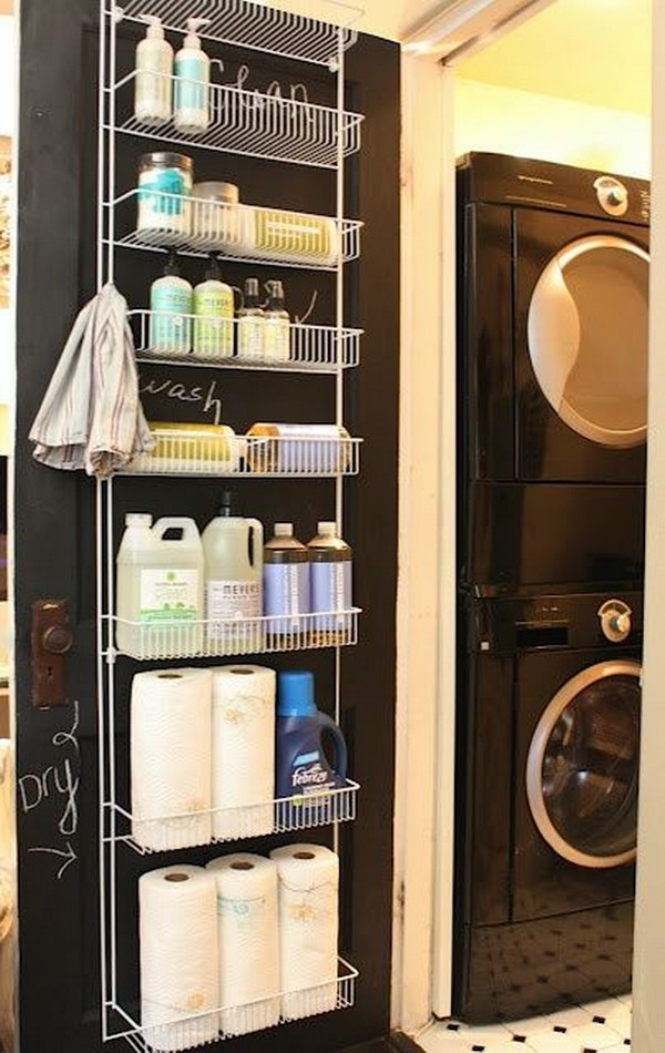 Use A Spice Rack Type Storage Shelf On A Door for Cleaning Products