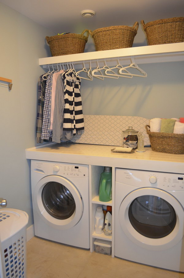 50 laundry storage and organization ideas 2017 for Laundry room shelving