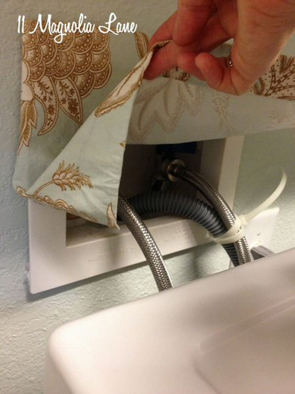 Hide Those Ugly Laundry Room Hoses With A small DIY curtain