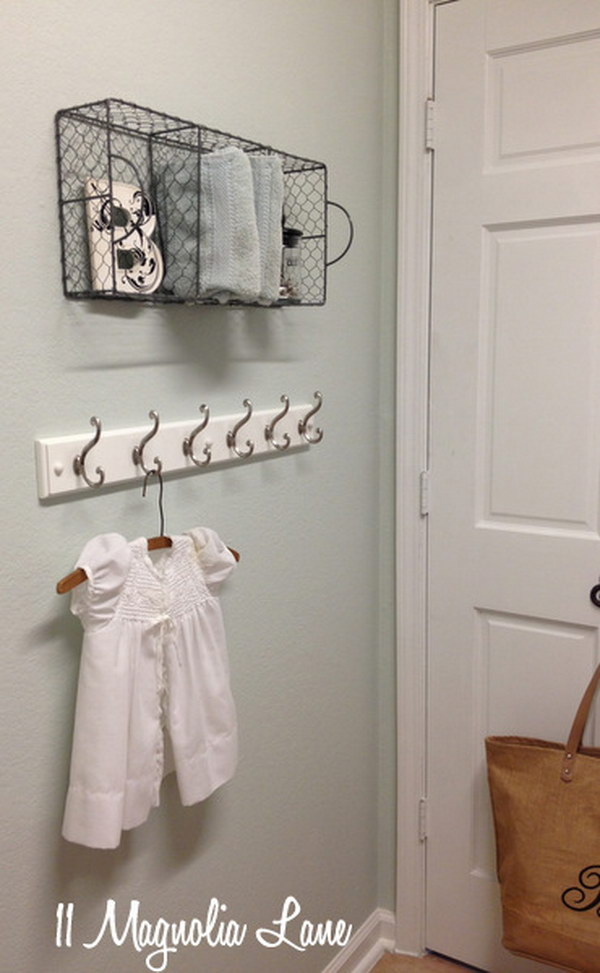 Repurpose Those Chicken Wire Baskets As Laundry Shelves