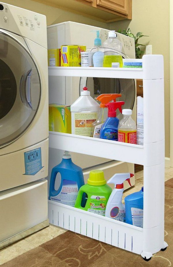 Conceal A Rolling Caddy In Between The Washer And Dryer For Easy Access To  The Important Stuff