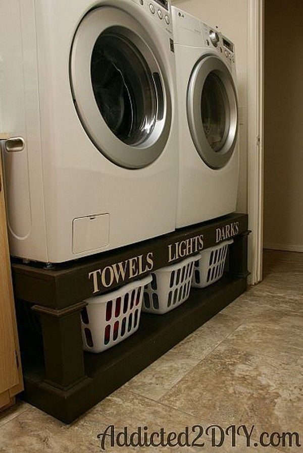 Create Space For Storage Baskets With This Diy Washer And Dryer Pedestal