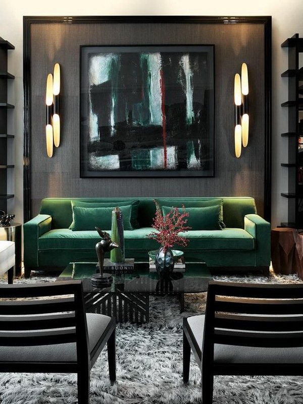 Black And Artistic Living Room.