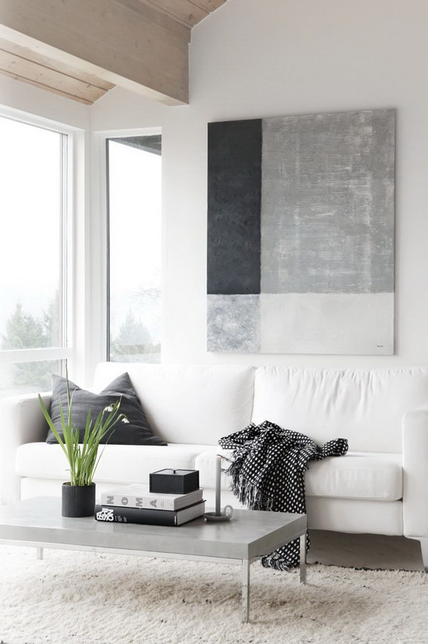 White Living Room Design Ideas In Shades Of Grey.