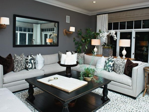Dark Gray Painting Living Room.