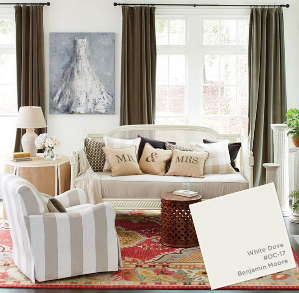 White Dove Paint Color for Living Room.