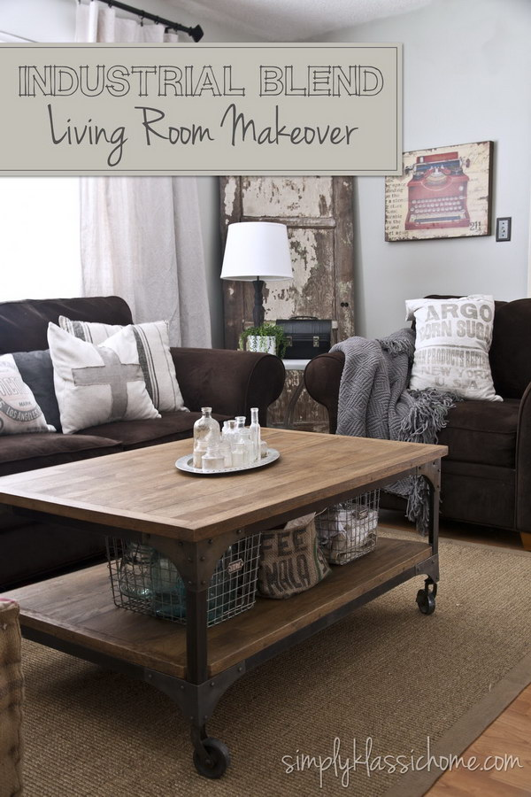 Brown And Industrial Living Room Makeover.