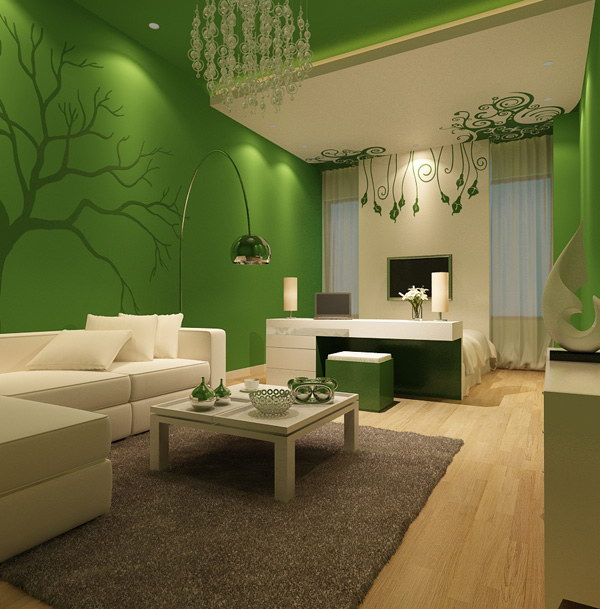 Grass Green and Creamy White Living Room Painting.