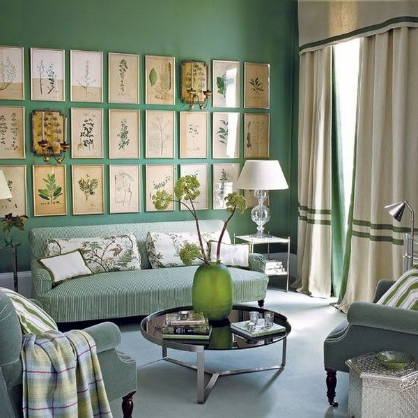 Emerald Green Painting Walls In Living Room.