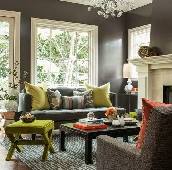 Lime Green Painted Living Room.