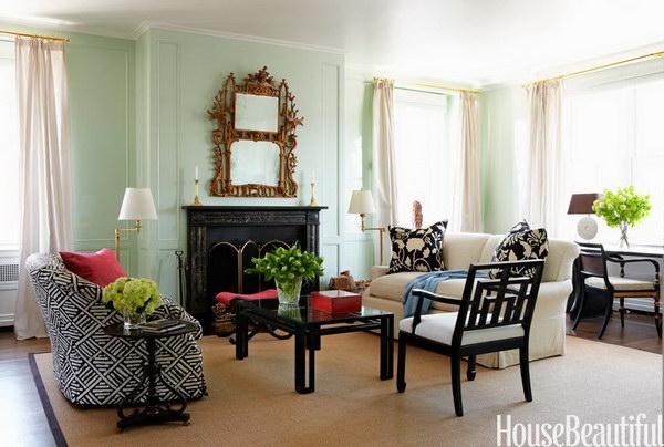 Vibrant Green Manhattan Living Room.