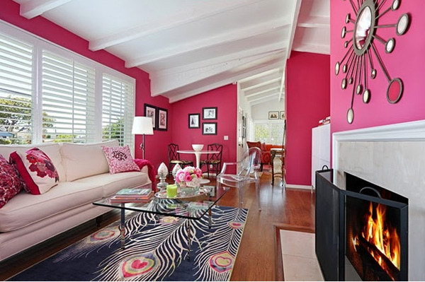 Hot Pink Painting Living Room.