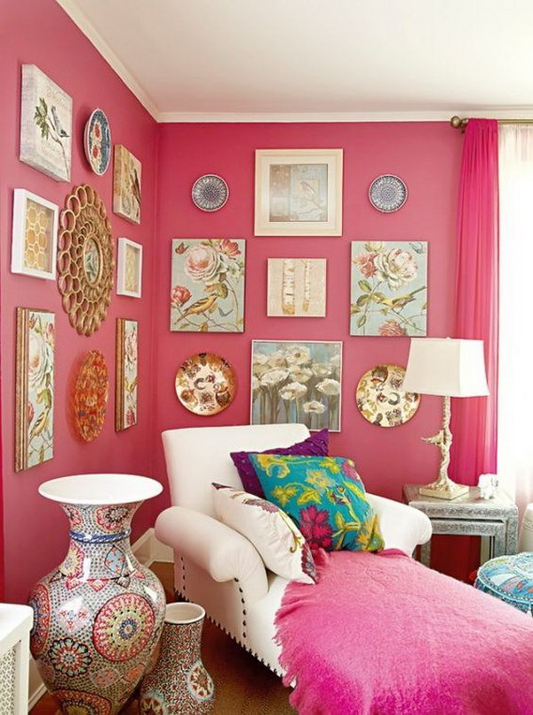 Pretty Pink Living Room.