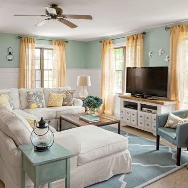 Blue and White Coastal Cottage Living Room.