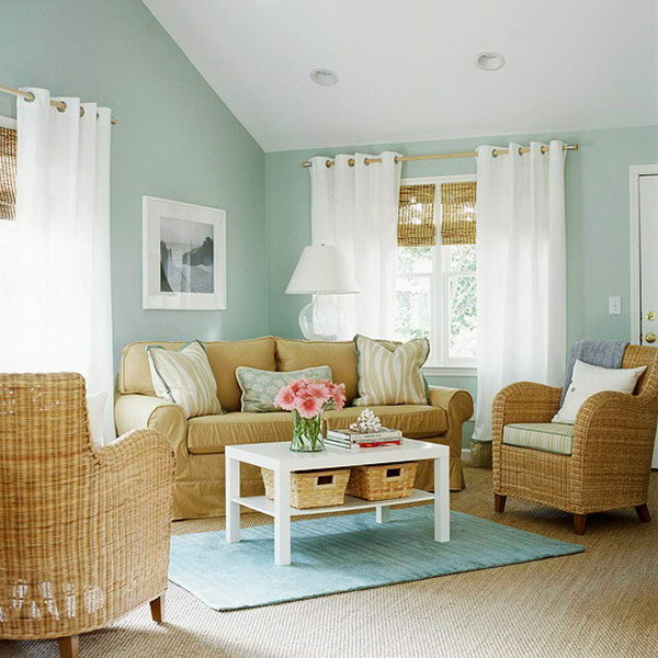 Pastel Blue Living Room.