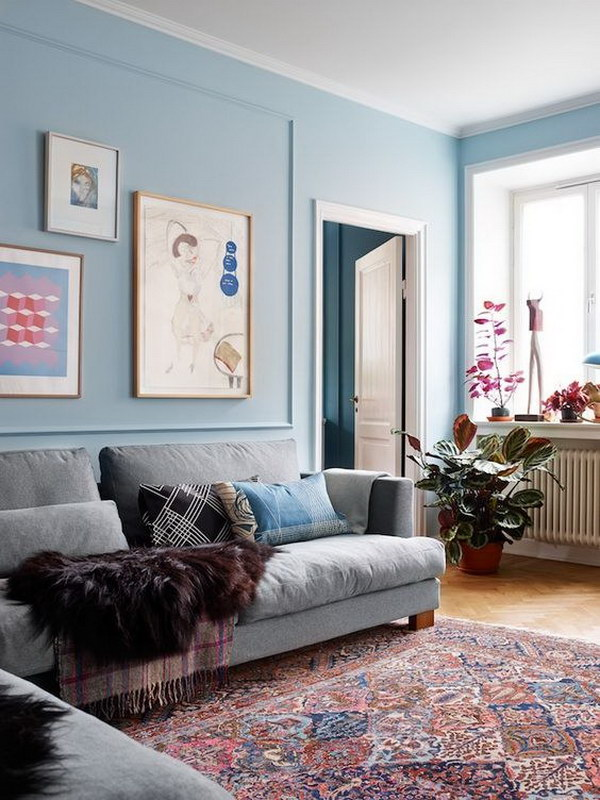 Pale Blue Living Room.