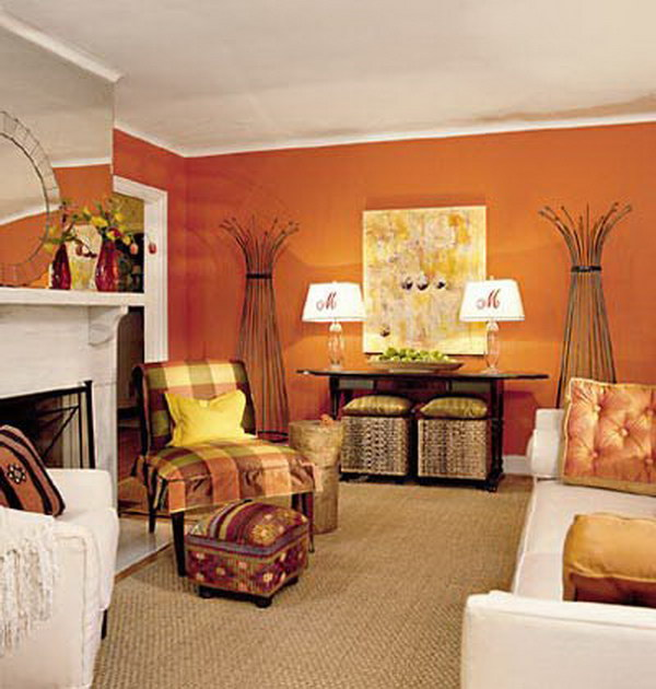 Tangerine Orange Living Room with White Furniture.