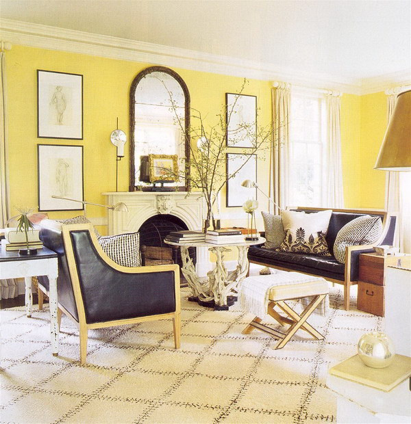 Cozy Yellow Living Room with Country Style.