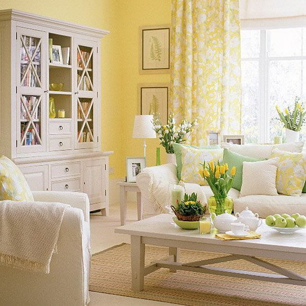 Bright Sunny Yellow walled Living Room.