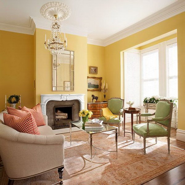 Bright Living Room With Yellow Painted Wall.