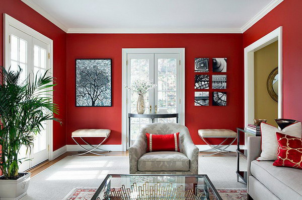 Contemporary Living Room in Red Look.