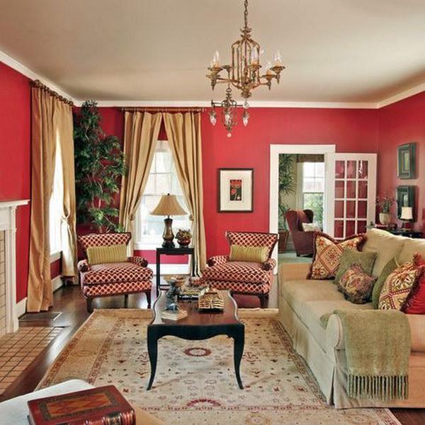 Burnt Peanut Red Living Room.